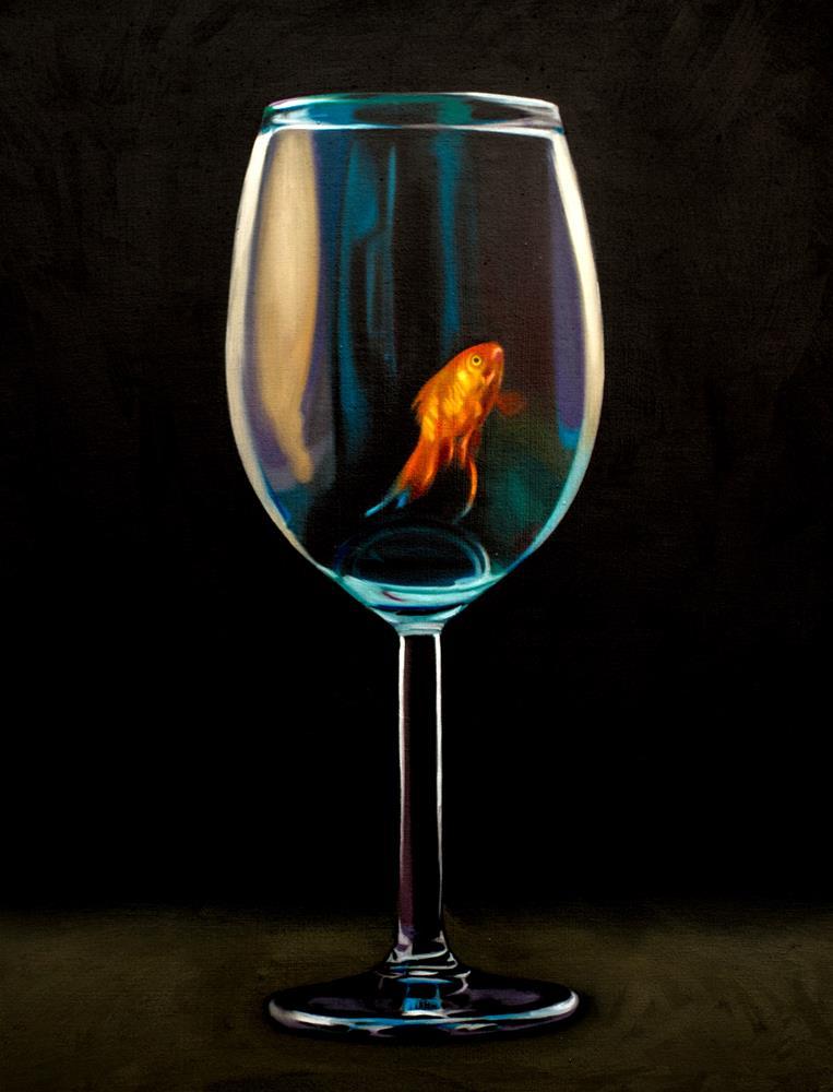 """Goldfish Wine Glass #2"" original fine art by Lauren Pretorius"