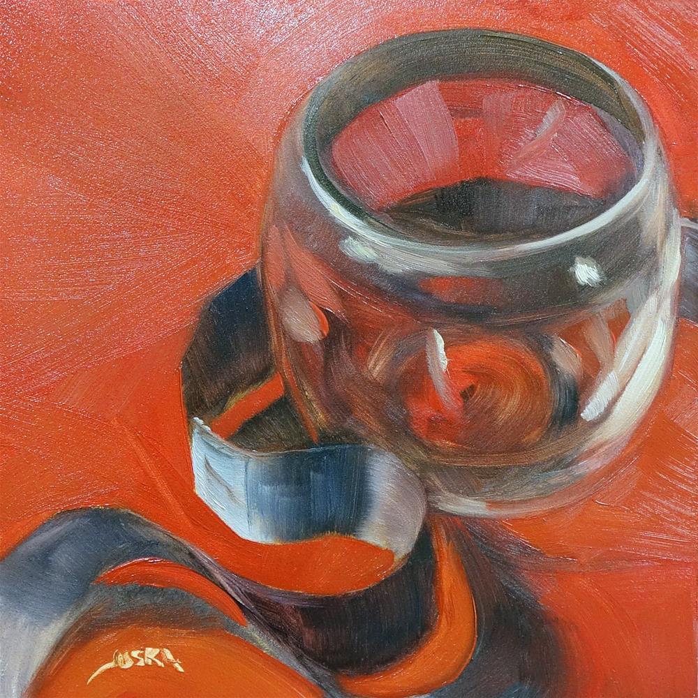 """Brandy Glass and Black Ribbon"" original fine art by Elaine Juska Joseph"