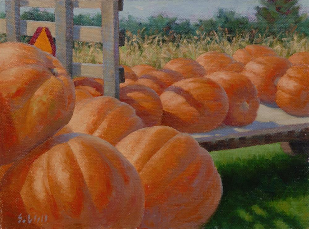 """Pumpkin Harvest 9x12"" original fine art by Sharon Will"