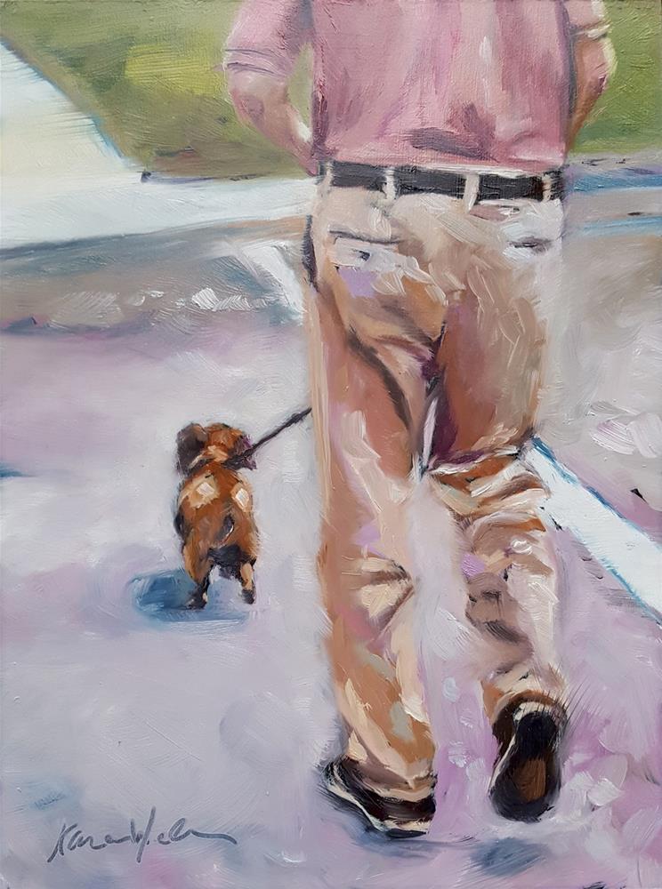 """Canine Constitutional"" original fine art by Karen Weber"