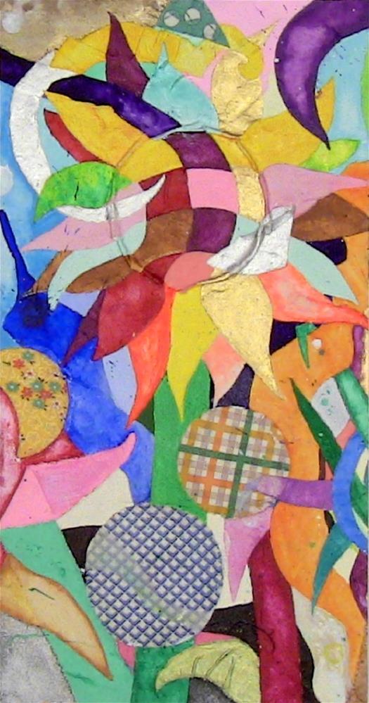 """Patchwork Sunflower"" original fine art by Lisa Fulton"
