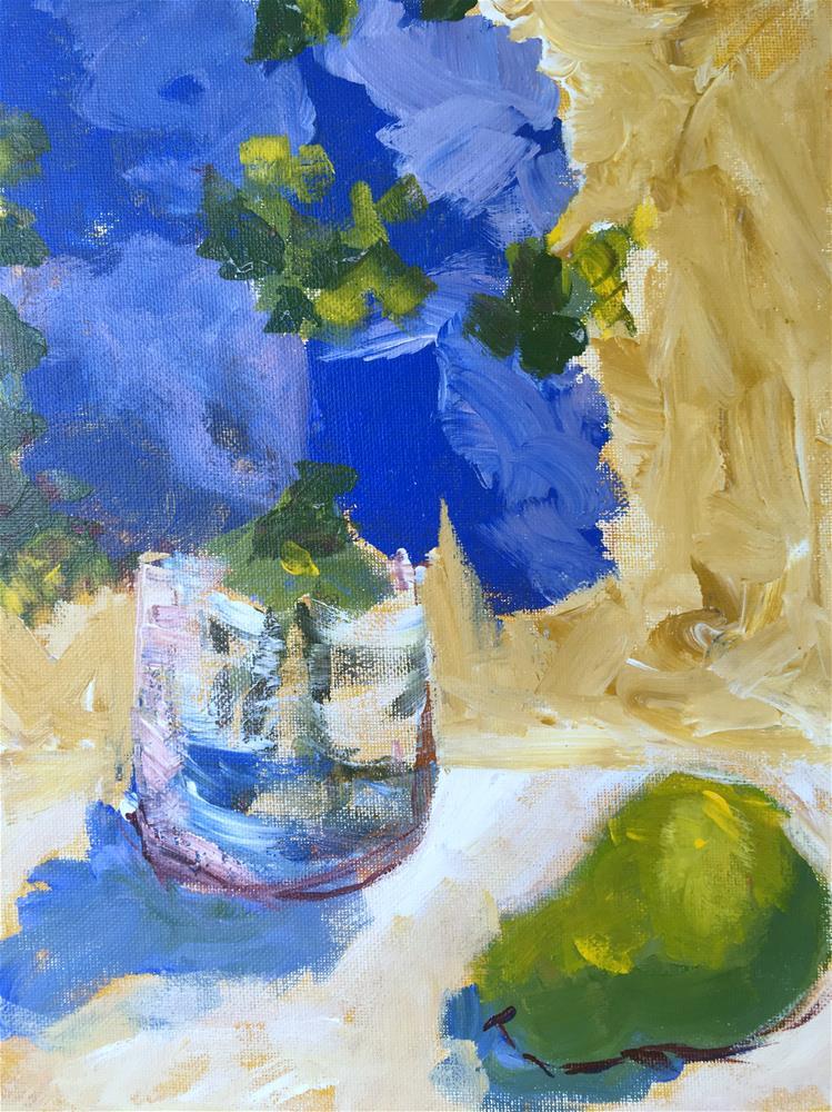"""Hydrangea and Pear, Demo 1"" original fine art by Susan Elizabeth Jones"