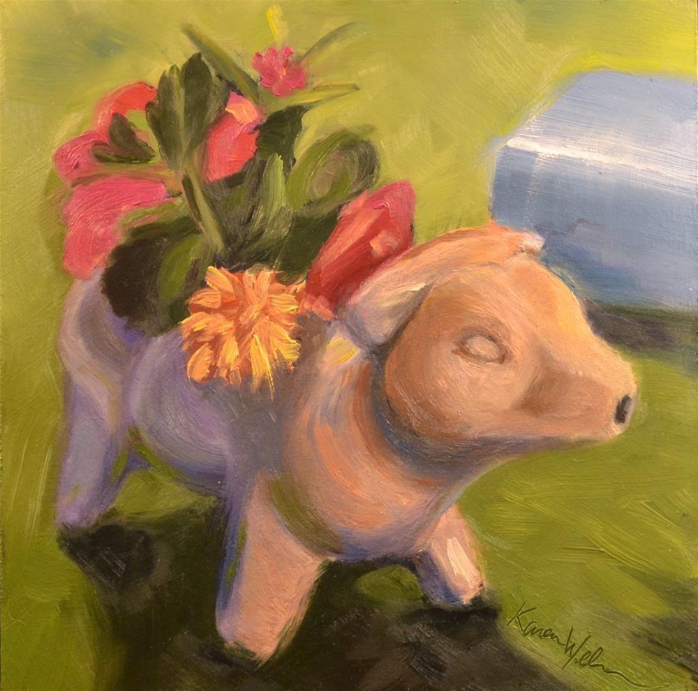 """""""The flower cow"""" original fine art by Karen Weber"""