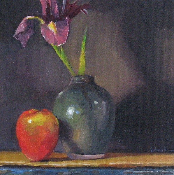 """""""Iris and Red Apple still life fruit and flowers floral oil painting"""" original fine art by Sarah Sedwick"""