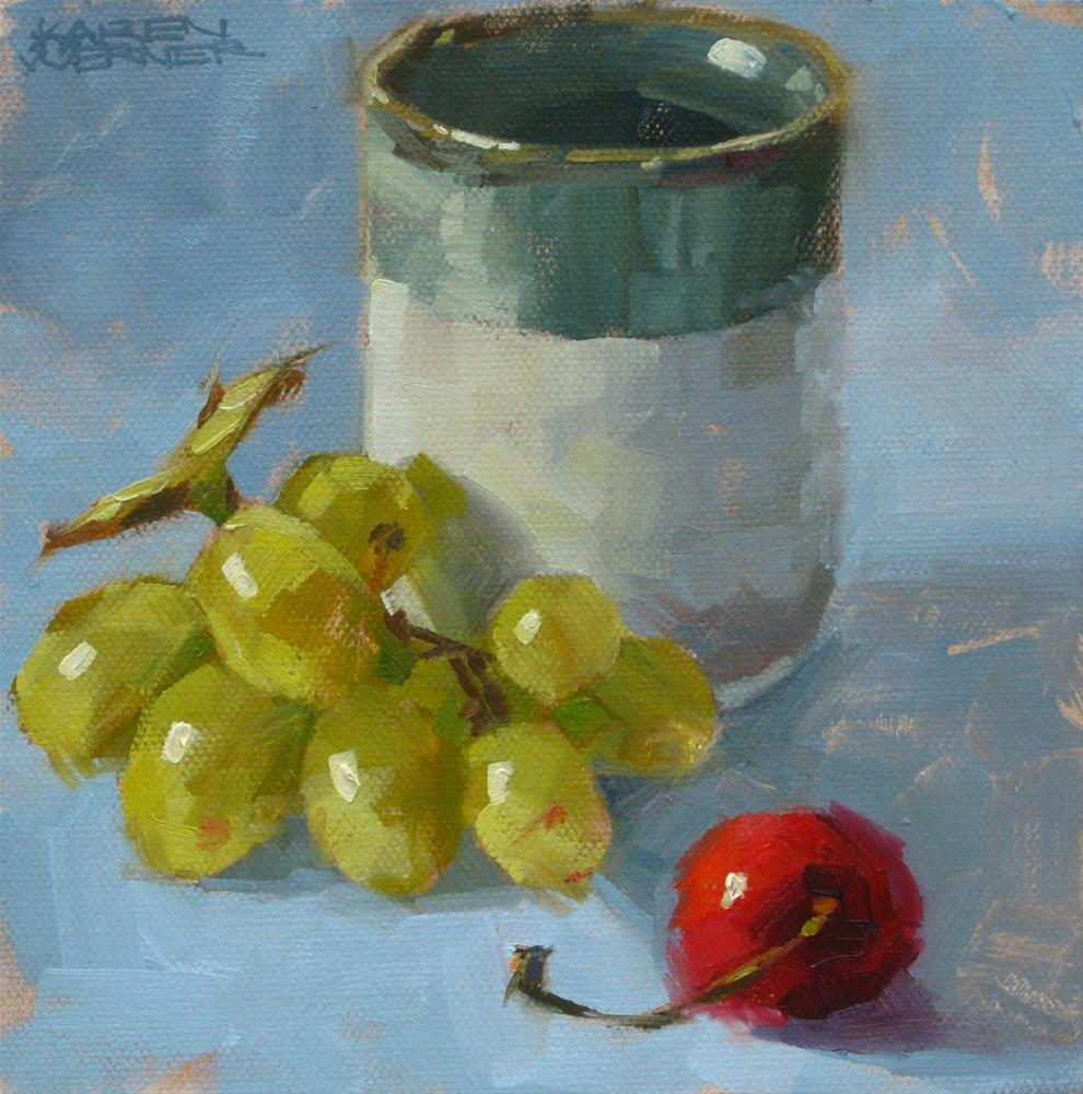 """Tea Cup With Fruit"" original fine art by Karen Werner"