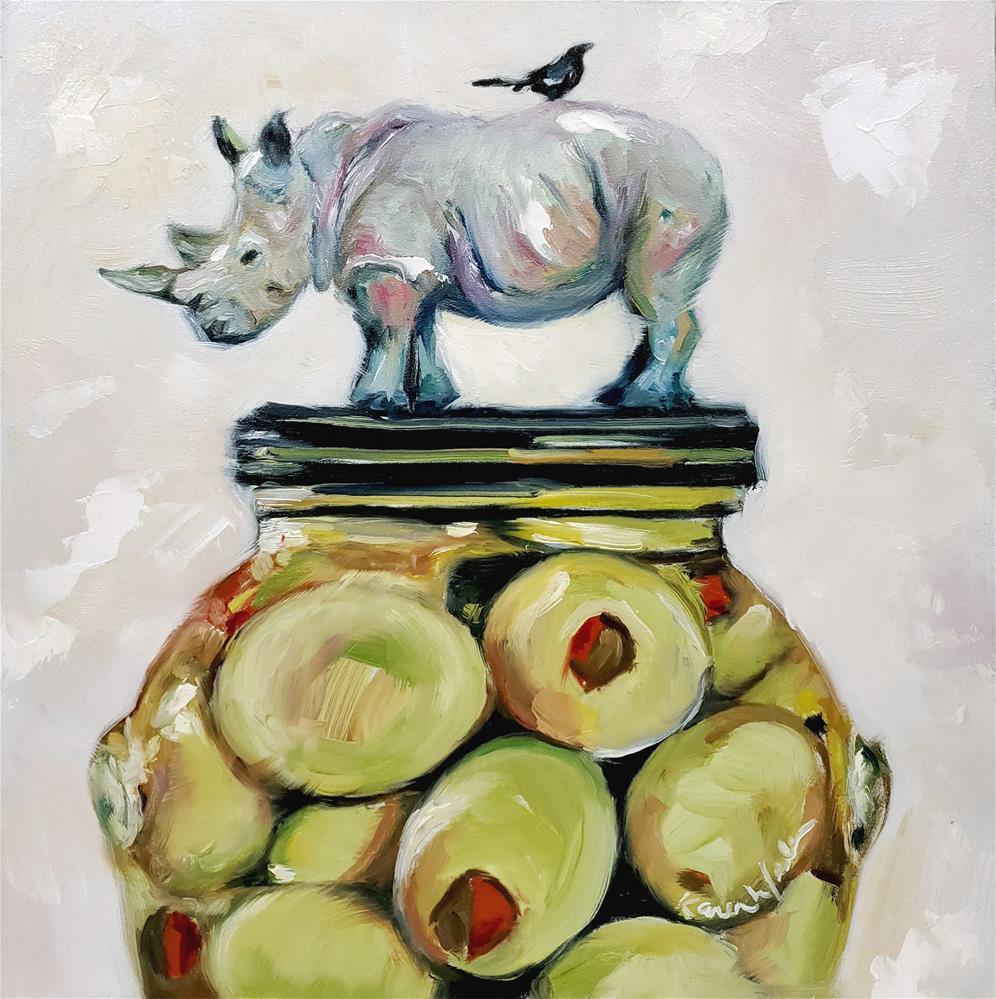 """""""RhinOlive"""" original fine art by Karen Weber"""