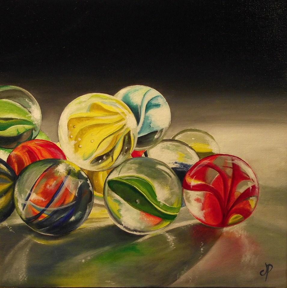 """Glass Marbles"" original fine art by Jane Palmer"