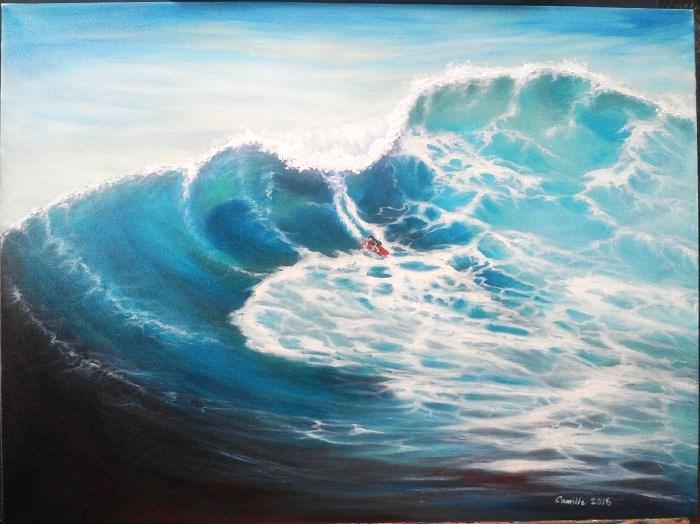 """Surfing a Wave"" original fine art by Camille Morgan"