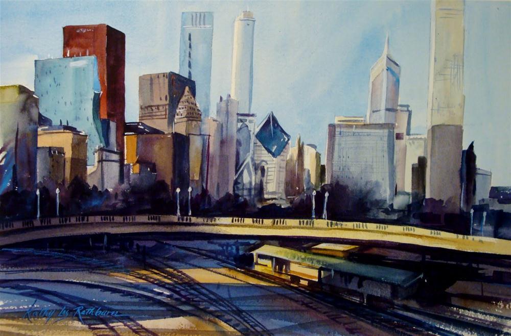 """Entering the City"" original fine art by Kathy Los-Rathburn"