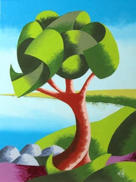 """Mark Webster - Abstract Geometric Oak Tree Lake Landscape Oil Painting"" original fine art by Mark Webster"