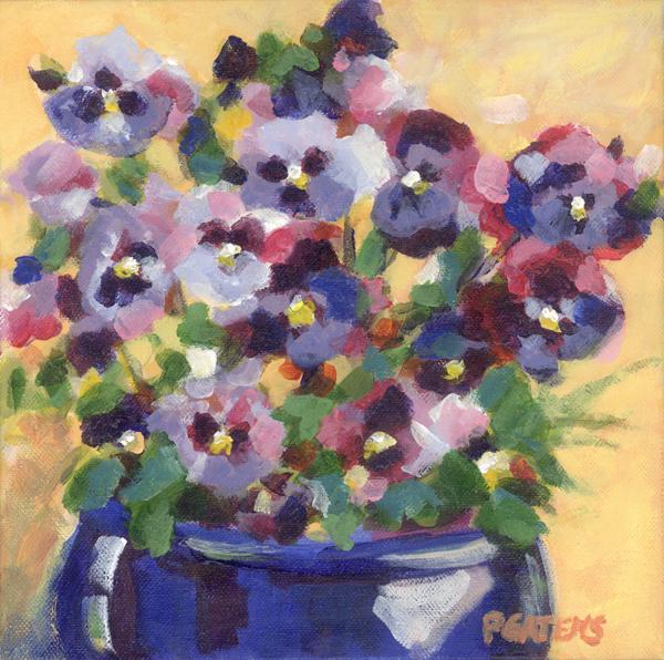 """""""Pansy Pot"""" original fine art by Pamela Gatens"""