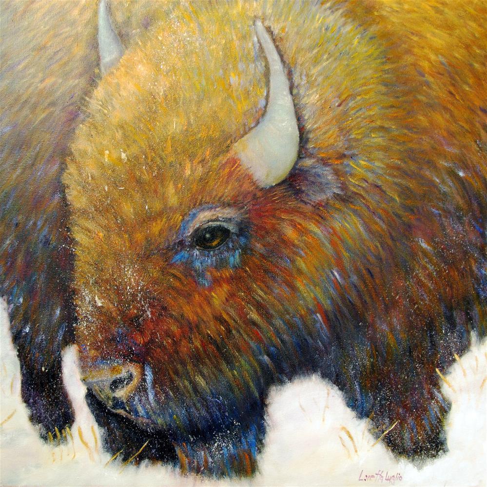 """""""Bison"""" original fine art by Loretta Luglio"""