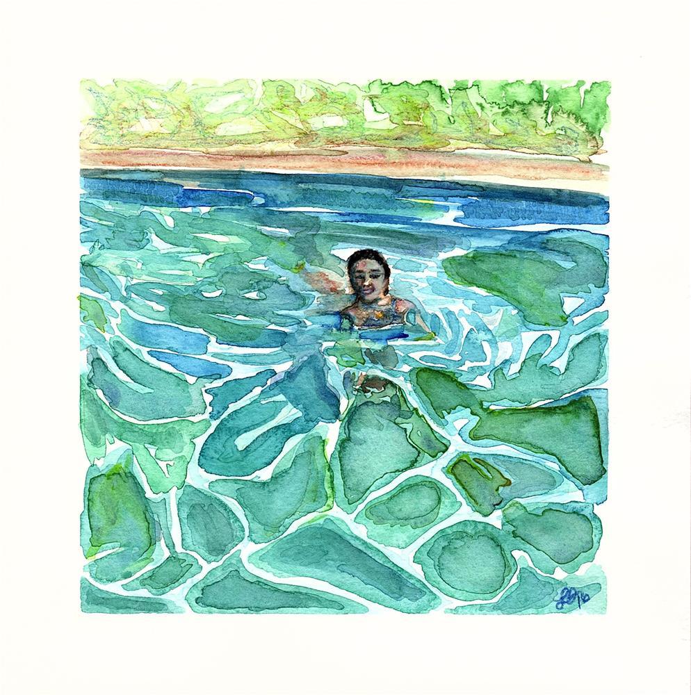 """Dip in the Pool"" original fine art by Laura Denning"