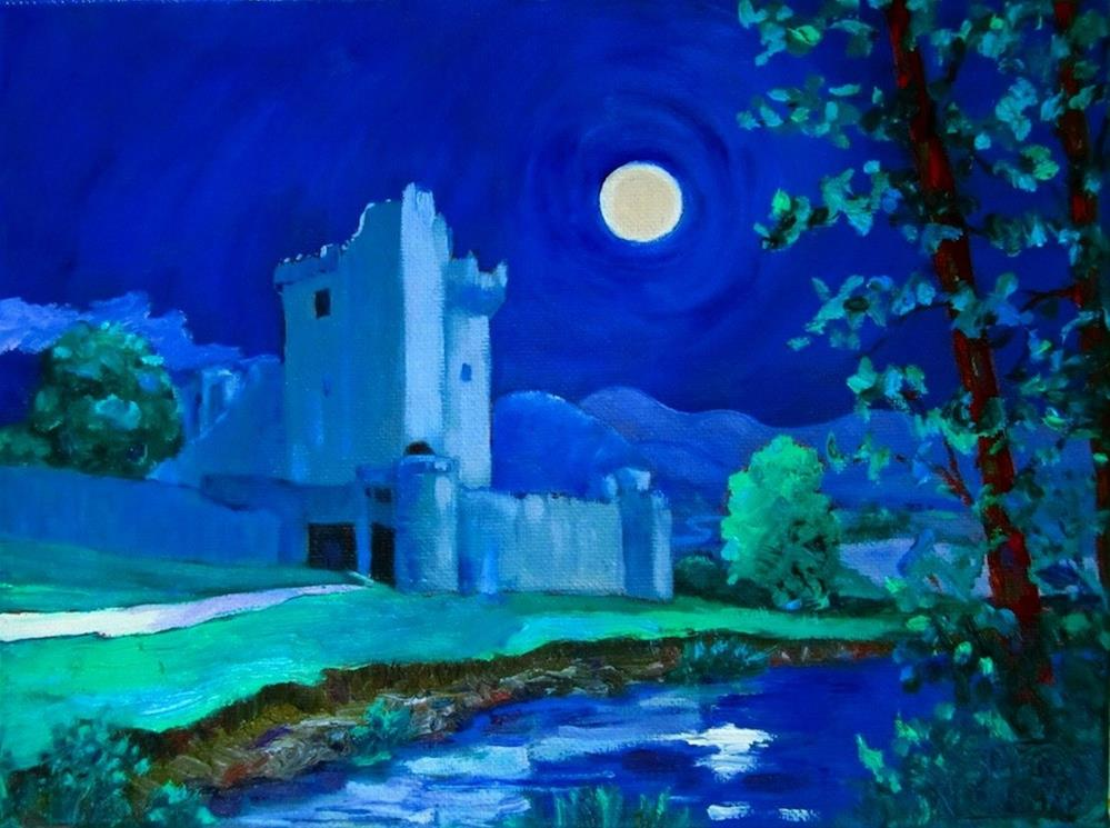 """Super Moon Over Ross Castle"" original fine art by Patricia Musgrave"