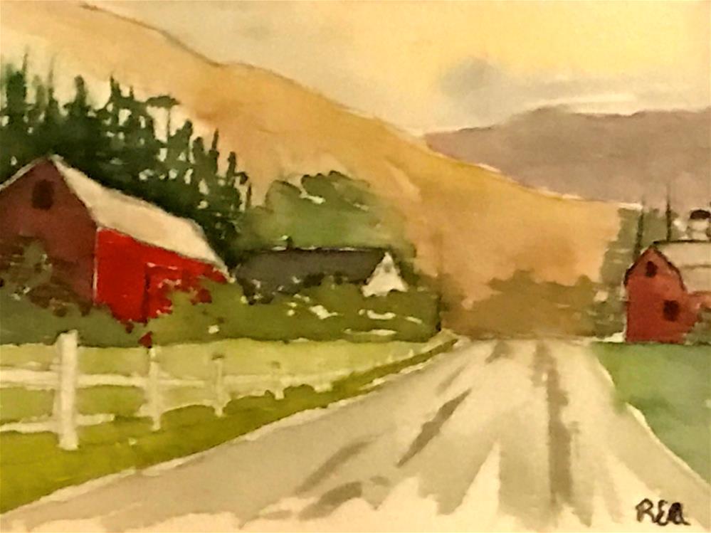 """red barns"" original fine art by Betty Argiros"