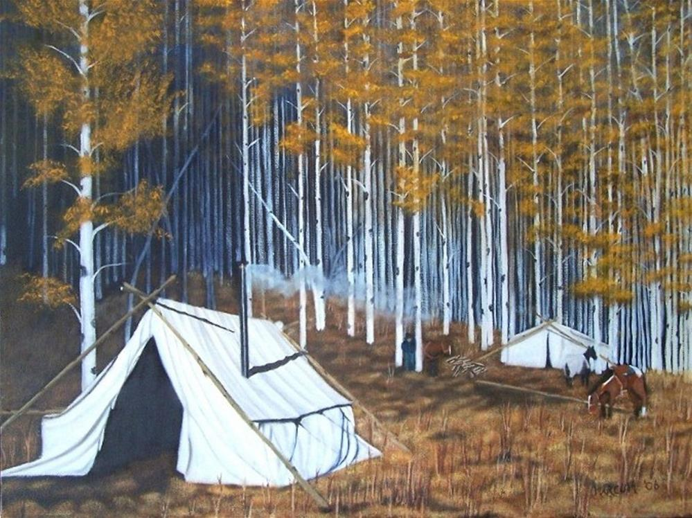 """Elk Hunters Base camp"" original fine art by John Marcum"