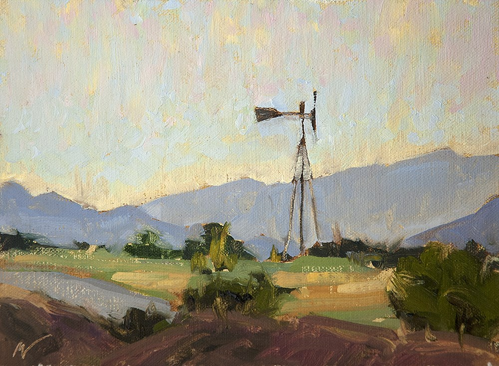"""Windmill South of Santa Fe"" original fine art by Miriam Hill"