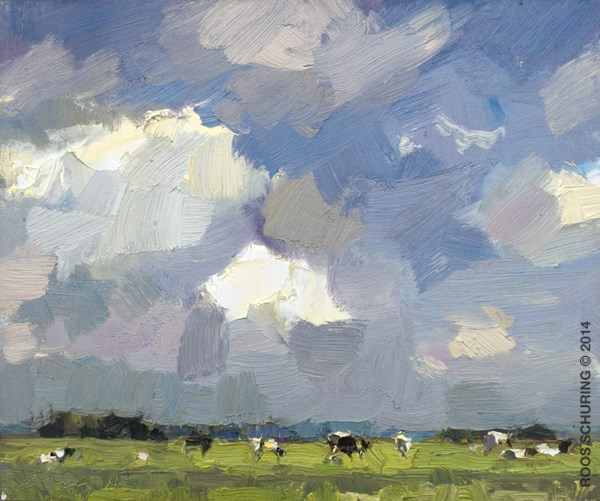 """""""LSU01-2014 Schuring Cows under Summer Sky"""" original fine art by Roos Schuring"""