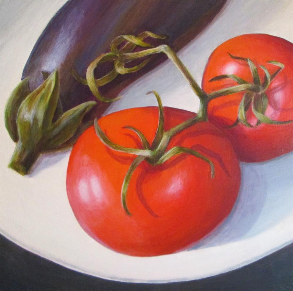 """Tomato & Eggplant"" original fine art by Debbie Shirley"