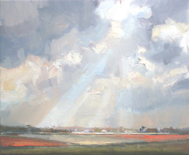 """Landscape spring #14 Revelation - Rays and white red fields"" original fine art by Roos Schuring"