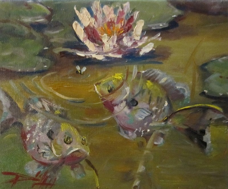 """Blue Gill Pond"" original fine art by Delilah Smith"