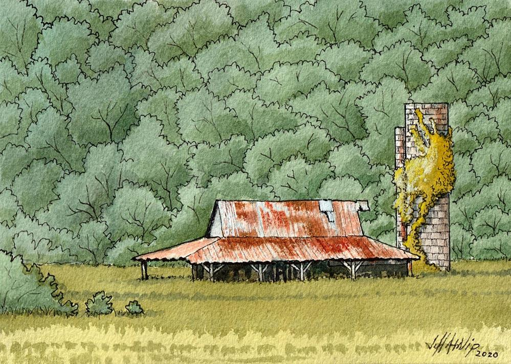 """Barn With Silo"" original fine art by Jeff Atnip"