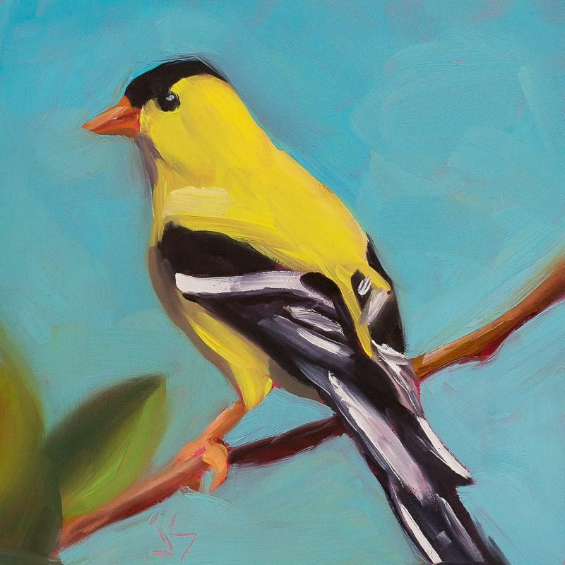 """""""Goldfinch Pose"""" original fine art by Johnna Schelling"""