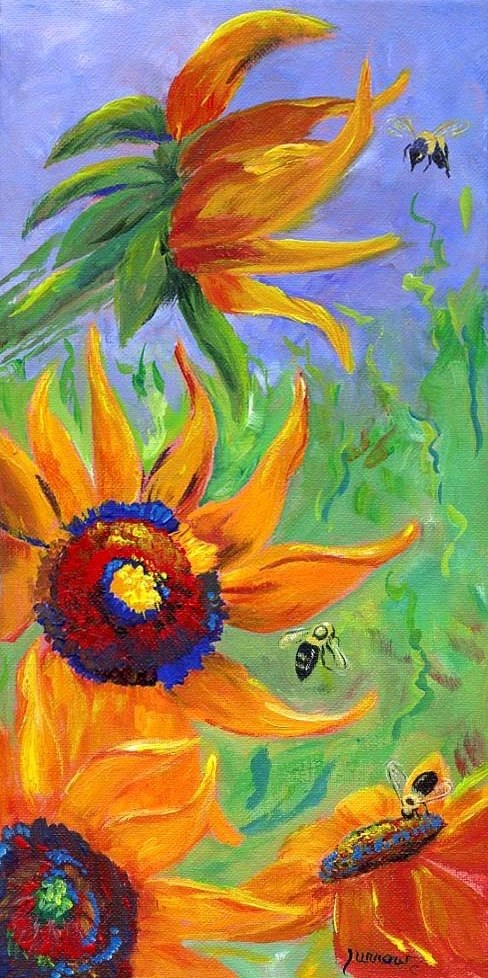 """""""BUMBLING -  An original painting of Sunflowers and Bumble Bee's"""" original fine art by Sue Furrow"""