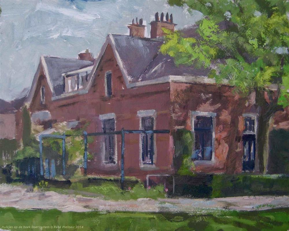 """Houses on the corner. Doetinchem, Holland"" original fine art by René PleinAir"