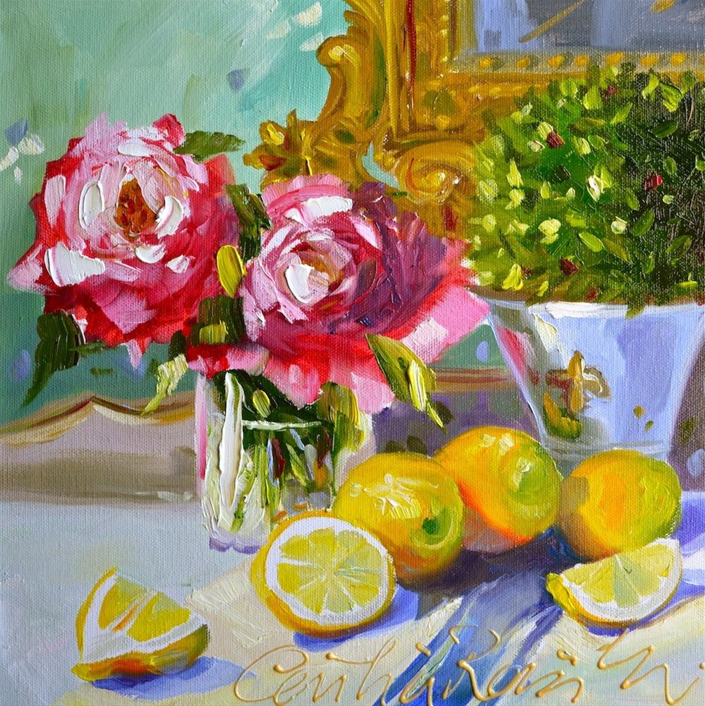 """LEMONS ON BLUE"" original fine art by Cecilia Rosslee"