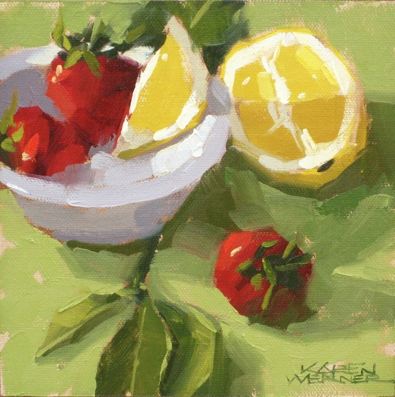 """""""Shadowed Lemon"""" original fine art by Karen Werner"""