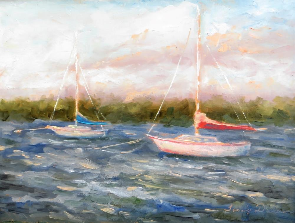 """""""Tied up at the Harbor"""" original fine art by Tammie Dickerson"""