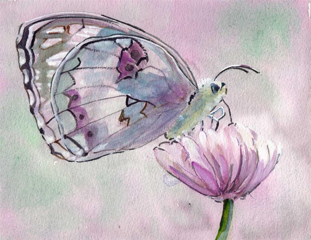 """Butterfly on Flower"" original fine art by Bunny Griffeth"