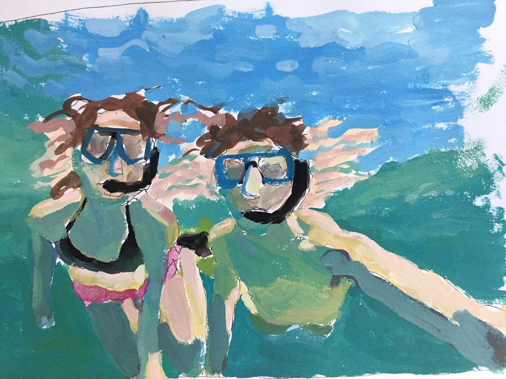 """Snorkeling St John"" original fine art by Lisa Sotero"