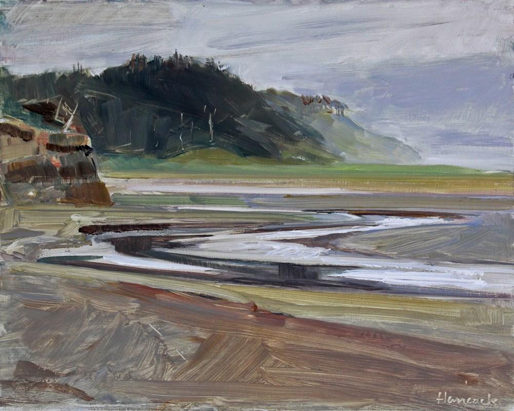 """Gray Day Roosevelt Beach"" original fine art by Gretchen Hancock"