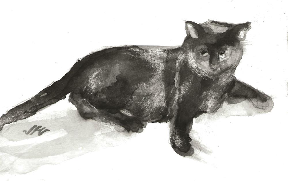 """Daily Cat 119"" original fine art by Jean Krueger"