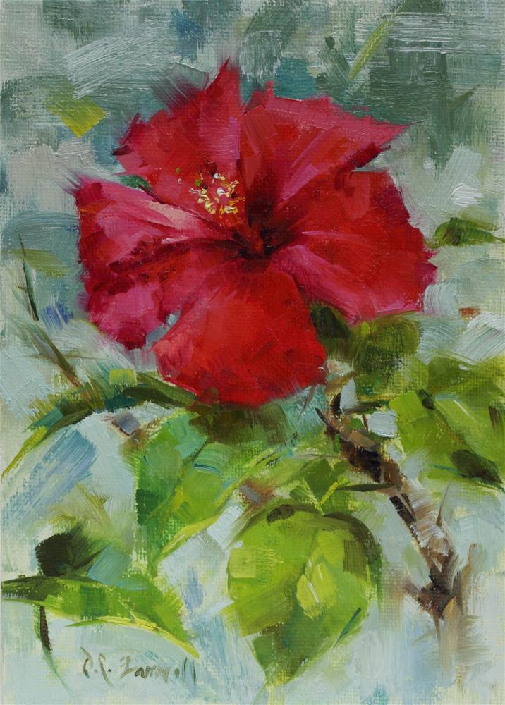 """""""Mia's Hibiscus"""" original fine art by Donna C Farrell"""