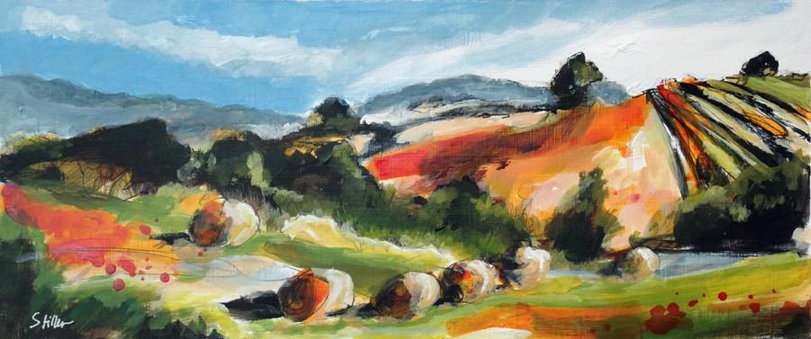 """""""2879 Landscape with Hay Bales"""" original fine art by Dietmar Stiller"""