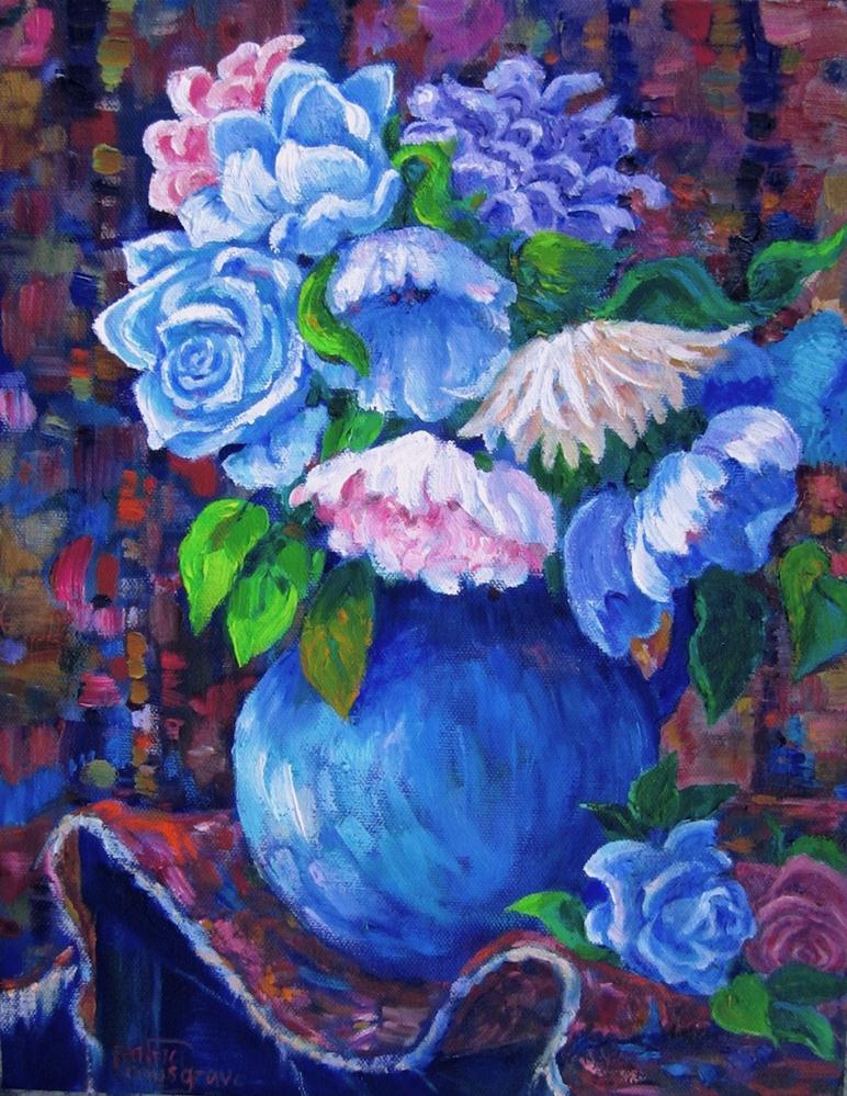 """Flowers and Tapestry"" original fine art by Patricia Musgrave"