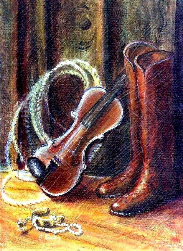 """""""Boots and Pearls by Texas artist, Barbara Lemley"""" original fine art by Barbara Lemley"""