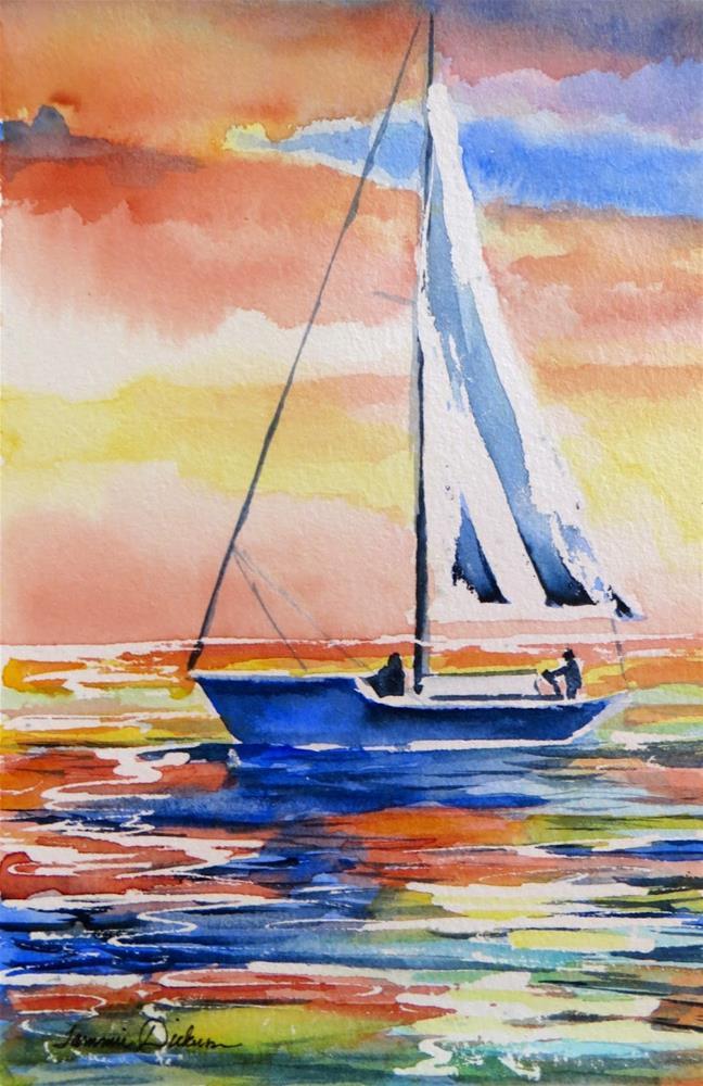 """Sunset Sailing"" original fine art by Tammie Dickerson"
