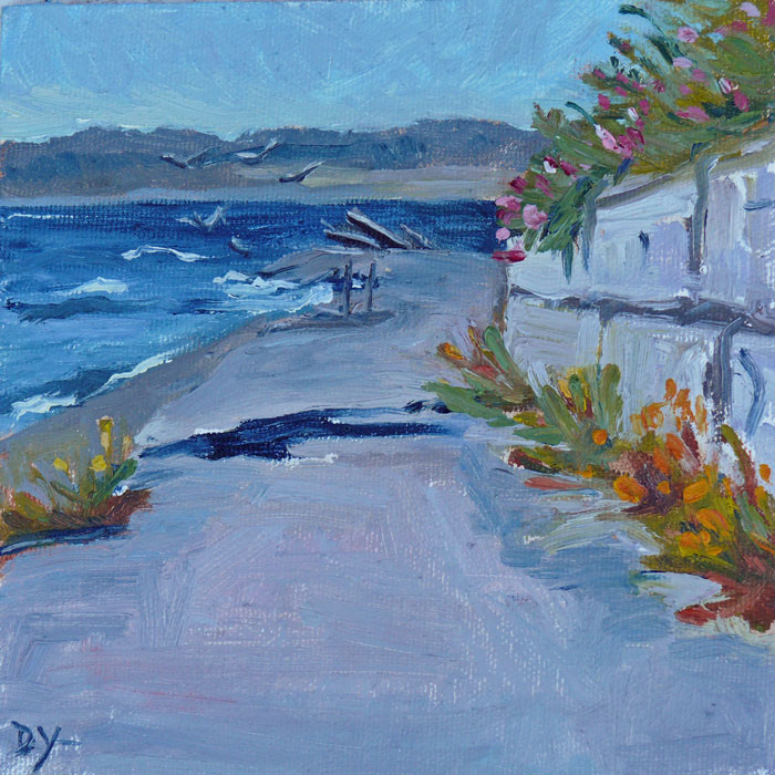 """Seawalk, Dallas  Road Scene, oil on canvas board, 6x6"" original fine art by Darlene Young"