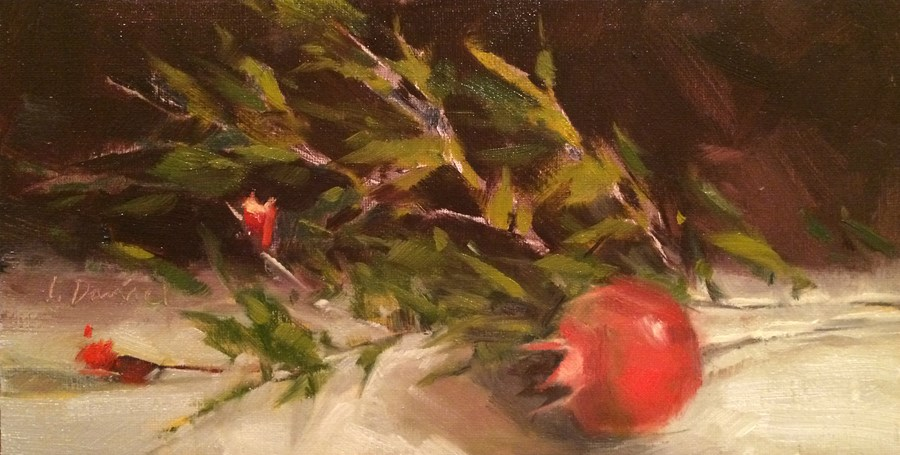 """Pomegranate Bough - Nine of 30 in 30"" original fine art by Laurel Daniel"