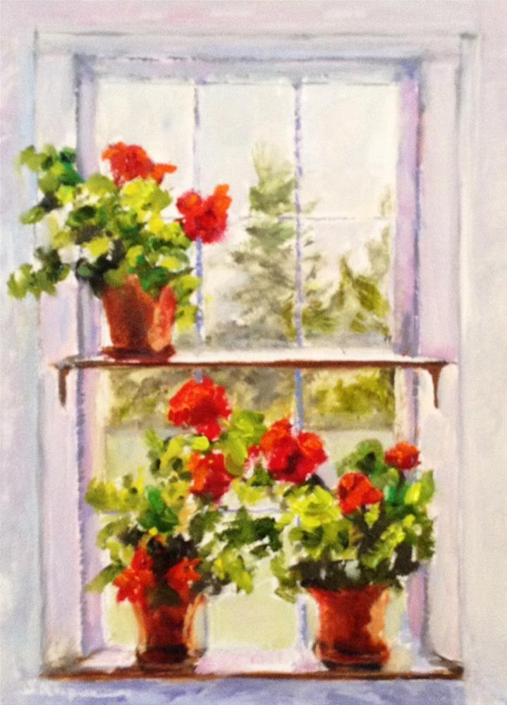 """Geraniums in an Old Maine Window"" original fine art by Shelley Koopmann"
