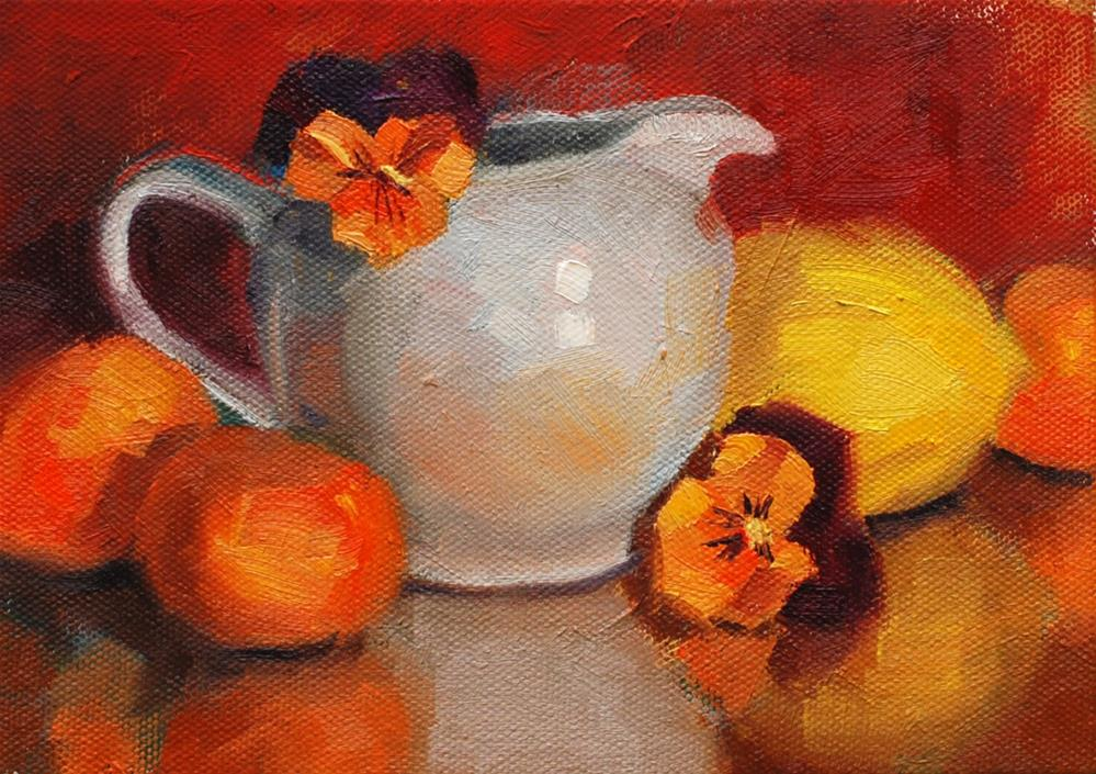 """Creamer with Pansies and Fruit"" original fine art by Susan McManamen"