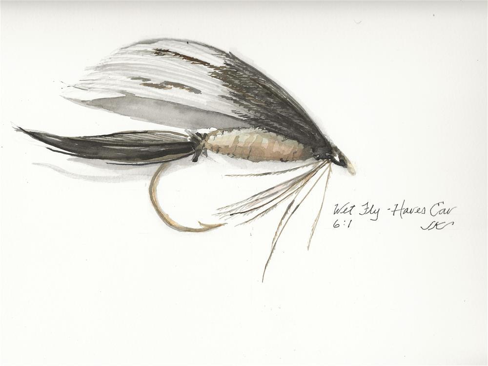 """""""Wet Fly - Hares Ear"""" original fine art by Jean Krueger"""