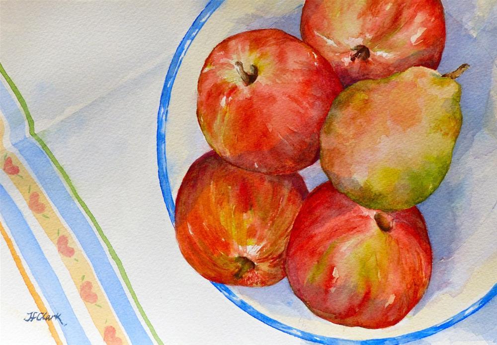 """""""Fruit with Tea Towel"""" original fine art by Judith Freeman Clark"""