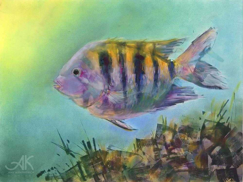 """SARGENT MAJOR FISH #0757"" original fine art by Amy Kirkpatrick"