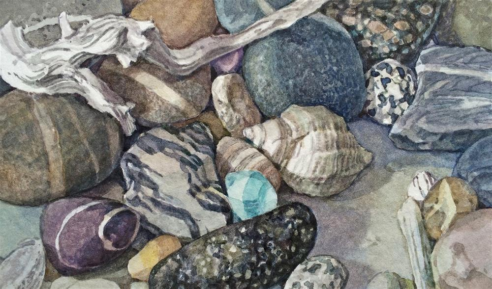 """""""Beaches: Look what we found (framed)"""" original fine art by Nicoletta Baumeister"""
