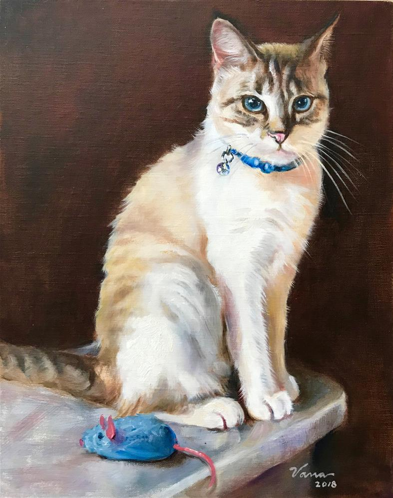 """Sophie and Her Blue Mouse"" original fine art by Vana Meyers"